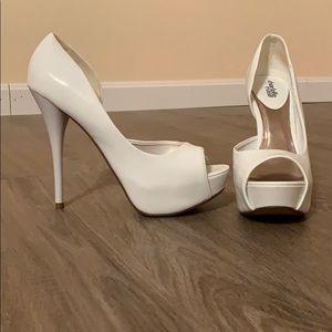 White peep toe heels!